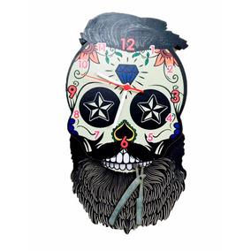 Relógio Parede Vintage Caveira Mexicana Decoração Barbearia