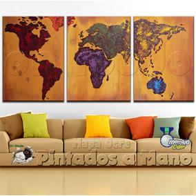 Cuadros Mapa Tripticos Decorativos Mapamundi Planisferio