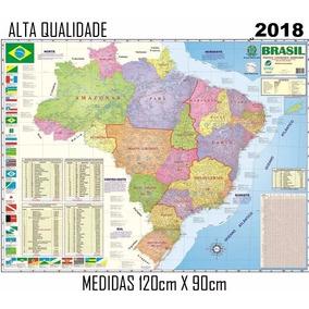 Mapa Brasil Politico Estatistico Rodovia 120cm 90cm 2018