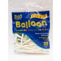 Bexiga Palito Balloon 260 Branca - 25 Unidades Pic Pic 101