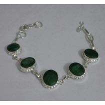 Pulseia Feminino De Prata 925 Esmeraldas Pedras Naturais