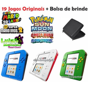 Nintendo 2ds 19 Jogos Originais Mario Pokemon + Bolsa