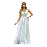 Vestido Zibeline Bordado C/ Mini Pérolas Luxo Decote V