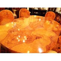 Mesa De Jantar Em Madeira De Lei Folheada A Rádica