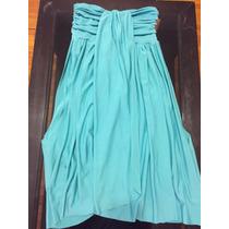 Vestido Strapless Corto, Color Verde Turquesa, De Diseño!!!
