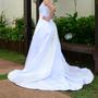 Vestido De Noiva Calda Longa Modelo Importado Cetim Italiano