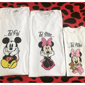 03 Pçs - Mãe / Pai / Filha - Mickey E Minnie