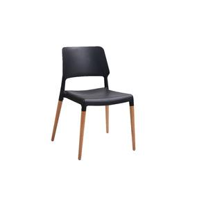 Cadeira Design Pés Palito Plástico Madeira Preto
