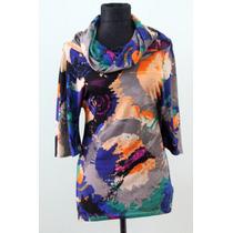 Blusa Con Cuello Tortuga Elegante Colorido - Envios