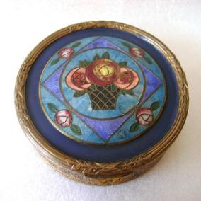 Antigua Polvera Art Deco Bronce Y Esmalte - No Envío