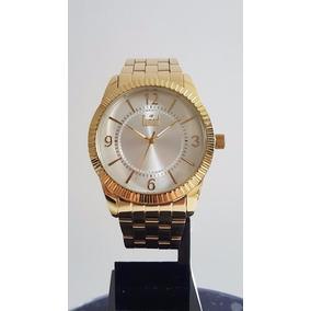 Relógio Feminino Dourado Grande Dumont Du2035lnp/k4k Aço