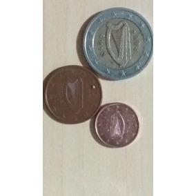 #963 - Lote Com 3 Moedas De Euro - Irlanda - Com Bimetálica
