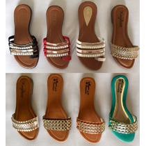 Sandalia Rasteirinha Detalhes Dourada Confortável 8 Modelos