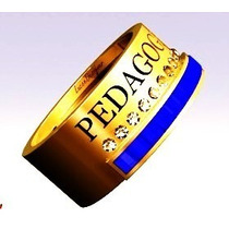 Anel Formatura / Grau Escrito Pedagogia Ouro 18k, Unissex