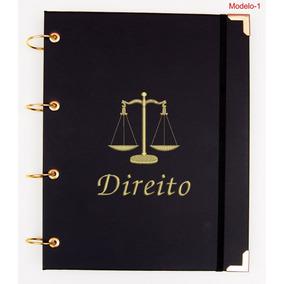 Caderno Argolado Universitário Direito Em Couro Luxo