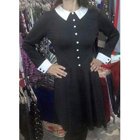 Vestido Pin Up Gotik Merlina Cuello Bebe O Cuello Camisa
