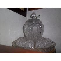 Preciosa Y Antigua Ponchera De Cristal Cortado
