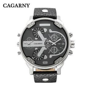 Reloj Caballero Cagarny 6820 Caratula Negra Correa Negra
