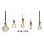 5 Portalampara Metalicos Vintage Retro + 5 Lampara Filamento Enviogratis