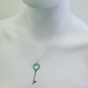 59afcbe3b345c Colar Chave Verde Tiffany Em Prata Legítima 925