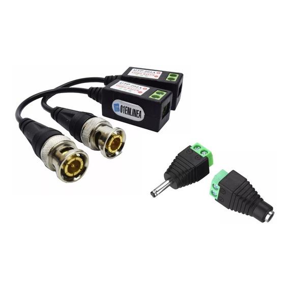 Pack Balun Conector C/ Plug Macho Y Hembra Utp Cctv Camara