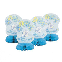 6 Mini Honeycomb Blue Stitching Baby Shower Decorations, 4c