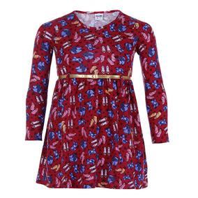 Vestido Com Cinto Infantil Fakini - 4 Ao 10 - Vinho 04