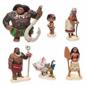 Kit Desenho Moana 6 Bonecos Disney Chef Tui Maui Heihei Tala
