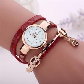 Relógio Feminino Dourado Pulseira Vermelha Em Couro Promoção