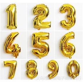 Balão Metalizado Dourado Número E Letras 45cm C/80 Uni