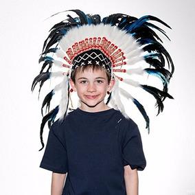 Penacho Indigena Apache Indio Para Niños 70 Azul Con Negro