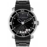 Chopard Mujer Happy Sport Negro Redondo Reloj Marcado Con
