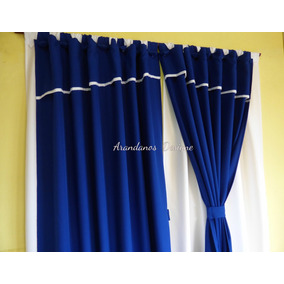 Cortinas Dobles 4 Paños + Sujetadores - Juegos Azules