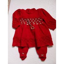 Vestido E Meia Calça Trico Newborn Saida De Maternidade