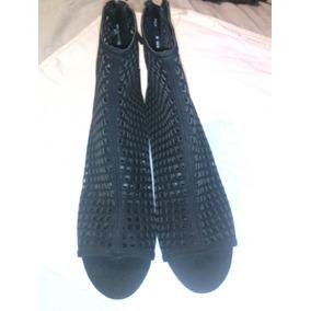 Botines Zara Negros Tacon Cuadrado