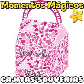 10 Cajitas Souvenirs Corazones Estrellas Flores Golosineras