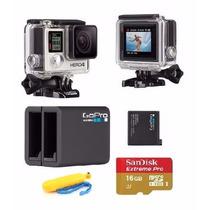 Gopro Hero4 Silver Camera Go Pro 4 Tela Lcd + 4 Brindes