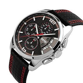 Qaistywf Skmei 9106 Hombres Relojes Cronógrafo Cuero Negro