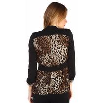 Blazer Blusa Mujer Estampado Animal Print - Negro Y Beige