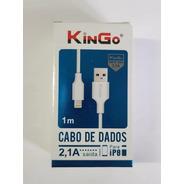 5 Cabos Dados Kingo Original Lightning Ip-8 2.1a Usb 1m Nfe