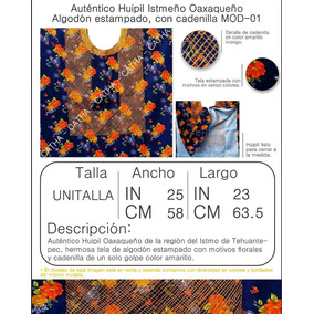 Huipil Istmeño Oaxaqueño - Algodón Estampado Con Cadenilla