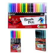 Mega Kit Coleção Completa 32 Caneta Brush Pen Newpen Pincel