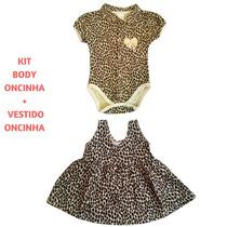 Body Menina Bebê + Vestido Estampa Oncinha Kit 2 Peças P G