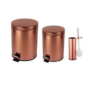 Lixeira Inox 3 Pçs: Lixeira 3l E 5l + Escova Sanitária Rose