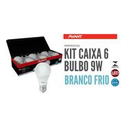 Kit Caixa Pack 6 Lampada Bulbo 9w Branco Frio 6500k Avant