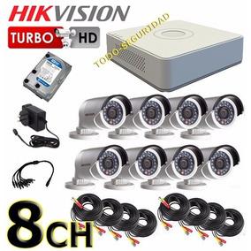 Kit Seguridad Hikvision Dvr 8ch Hd + 500gb + 8 Cámara Cable
