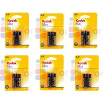 6 Paquetes C/2 Pila Kodak Alcalina Aa 1.5v Kaa-2 (12 Pilas)