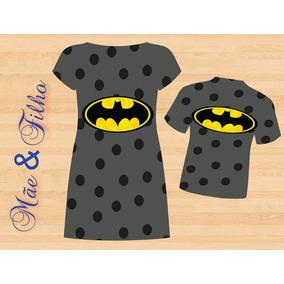 Vestido Adulto E Blusa Infantil - Bat Symbol Tema 3