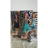 Lote De 3 Barbie Fashionistas 16, 18 Y 27 Curvy Pelo Azul