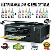 Multifuncional Epson L395 + 12 Refil De Tintas